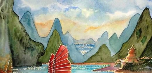 Vẽ tranh phong cảnh biển đơn giản mà lại độc đáo sắc nét