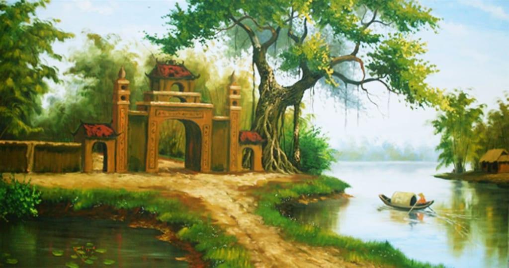 vẽ tranh phong cảnh làng quê