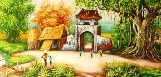 Vẽ tranh phong cảnh làng quê đẹp và chuẩn nhất