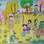 Những bức vẽ tranh phong cảnh mùa hè của các em học sinh ngộ nghĩnh
