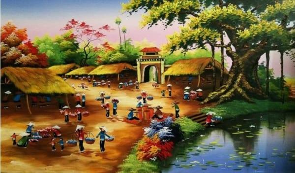 Giới thiệu một số bức vẽ tranh phong cảnh làng quê Việt Nam thu hút nhất