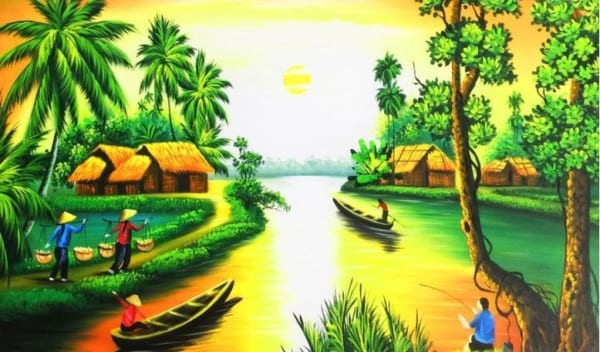 Bức tranh làng quê với cảnh yên bình sông nước