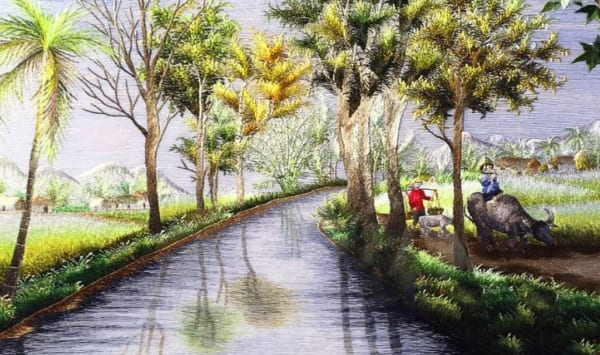 Vẽ tranh phong cảnh làng quê đơn giản với hình ảnh cậu bé ngồi thổi sáo trên lưng trâu