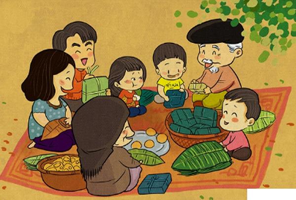 Gia đình cùng gói bánh chưng