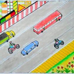 Vẽ tranh an toàn giao thông đơn giản và thông điệp ý nghĩa