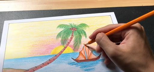 Cách vẽ tranh phong cảnh biển bằng bút chì
